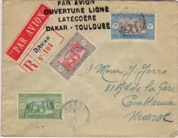 SENEGAL  66 73 84A (o) Lettre Cover Par Avion Ouverture Ligne Latécoère Dakar Toulouse Vers Dakar Juin 1925 - Senegal (1887-1944)