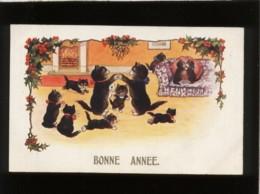 2 Chats Noirs & Chatons Jouant Bonne Année édit. Inter Art Florence House Comique Series N° 4438 - Chats