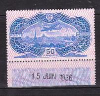 N° 15 Avion Survolant Paris Copie Du Poste Aérienne N° 15 Burelé Bord De Feuille 1er Jour Faire Offre - Airmail
