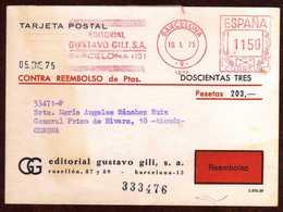 Girostamps54.- TARJETA DE REEMBOLSO MATASELLOS METER STAMPS DE EDITORIAL GUSTAVO GILI CIRCULADA A GERONA - 1931-Hoy: 2ª República - ... Juan Carlos I