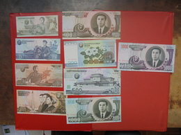 COREE(NORD) LOT 9 BILLETS DIFFERENTS NEUFS Et/ou CIRCULER - Monnaies & Billets