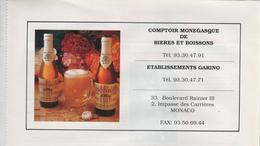 Publicité Monaco Comptoir Monégasque De Bières Et Boissons Garino - Publicités
