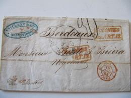 MARQUE POSTALE  LETTRE  MONTEVIDEO   Vers  BORDEAUX   1853 - Marcophilie (Lettres)
