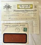 Lettre Avec Contenu Tarif  FACTURE 1920  Chocolat Meunier Saint Gratien No Menier - Marcophilie (Lettres)