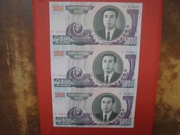 COREE(NORD) PLANCHE DE 3 BILLETS 5000 WON 2006 - Korea (Nord-)