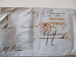 MARQUE POSTALE  LETTRE  LIMA   Vers  BORDEAUX   1854 - Marcophilie (Lettres)