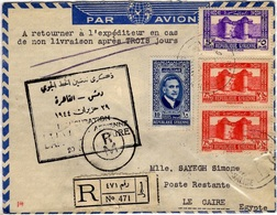 SYRIE 246 257 258A (o) Lettre Cover Recommandé Par Avion Inauguration Ligne Damas Le Caire Egypte Cachets Divers - Syrie (1919-1945)