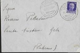 STORIA POSTALE REGNO - ANNULLO GRANDE DC RIETI 14.03.1935 SU BUSTA RETROINTESTATA MILITARE PER S.CRISTINA GELA - Marcophilia