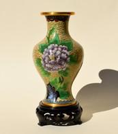 Vase En Métal Cloisonne émaillé Décor Floral Et D'oiseau - Art Asiatique - Art Asiatique