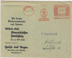 """DR - 3 Pfg. AFS """"Gräfe Und Unzer Bücher"""", Drucksachenbrief Königsberg -  - Deutschland"""