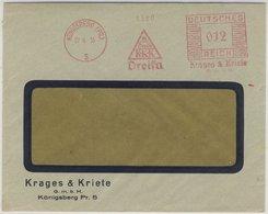 """DR - 12 Pfg. AFS """"Dreika - Krages&Kriete"""", Brief Königsberg 1935 - Fensterkuvert - Deutschland"""