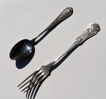 Fourchette Art Nouveau Et Petite Cuillère En Métal Argenté - Argenterie