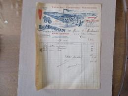 HAVRE-GRAVILLE L. MOLON TANNERIE CORROIERIE VERNISSERIE 37 A 51 RUE MONTMIRAIL GUÊTRES MOLLETIERES FACTURE DU 17/11/1924 - Francia