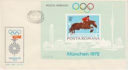 Rumänien - Olympiade München 1972 Springreiter Block 94 Schmuck-FDC - Roumanie