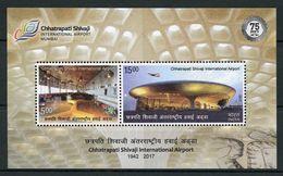 India MNH 2017, MS Chhatrapati Shivaji International Airport, Aviation, Airplane, Monument - India