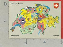 CARTOLINA NV SVIZZERA - Cartina Geografica Politica - Cantoni Svizzeri - 10 X 15 - Carte Geografiche