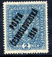 CZECHOSLOVAKIA 1919  Overprint On 2 Kr. Granite Paper, MNH / **.  Expertised.  Michel 59 - Cecoslovacchia