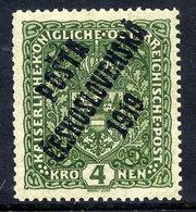 CZECHOSLOVAKIA 1919  Overprint On 4 Kr.  Format I, LHM / *.  Expertised.  Michel 53 I - Tschechoslowakei/CSSR