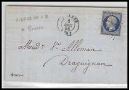 LAC Lettre Cover France 1993 Alpes-Maritimes Napoléon N°14 T1 Bleu Foncé Tb Pc 1442 Grasse Pour Draguignan Var 1856 En T - Marcophilie (Lettres)
