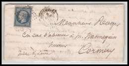 LAC Lettre Cover France 2076 Loir-et-Cher Napoléon N°14 T1 Tb Pc 2146 Montrichard Pour Cormery Indre Et Loire 1859 Vonvo - Marcophilie (Lettres)