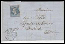 LAC Lettre Cover France 2239 Gard Napoléon N°29 T2 GC 2954 Pont-Saint-Esprit Pour Pierrelatte Drome 23/4/1870 - 1849-1876: Période Classique