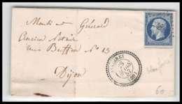 LSC Lettre Cover France 0942 Bourgogne Cote-d'Or Napoleon N°14 T1 PC 29 AISERAY T22 Pour Dijon TB 23/3/1857 - 1849-1876: Classic Period