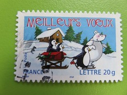 Timbre France YT 3853 (AA N° 67) - Meilleurs Voeux - Ours Blanc Et Manchot - 2005 - Sellos Autoadhesivos