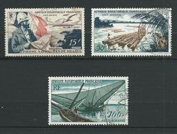A.E.F 1951/55. Poste Aérienne N°s 55 , 58 Et 59 . Oblitérés . - Oblitérés