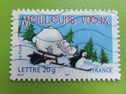 Timbre France YT 3857 (AA N° 71) - Meilleurs Voeux - Ours Blanc Sur Une Luge Et Manchots - 2005 - Sellos Autoadhesivos