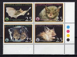 CHYPRE Cyprus 2003 Chauve-Souris Bats Yv 1024/1027 MNH ** - Fledermäuse