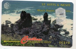 SAINT KITTS & NEVIS REF MV CARDS STK-15B Année 1995 10EC$ 15CSK BLACK ROCKS - Saint Kitts & Nevis