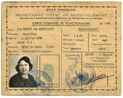Etat Français, Secrétariat D'Etat Au Ravitaillement, Carte D'identité De Fonctionnaire N°1546 - 1939-45