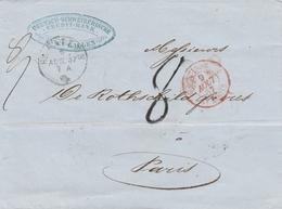 Suisse Lettre St Gallen + Cachet D'entrée En France Suisse/St Louis 1857 - Postmark Collection