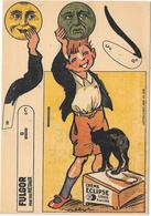 Publicité à Système à Découper - CREME ECLIPSE -  FULGOR  Illustrée Par POULBOT - Chromo - GARCON,CHAT NOIR, LUNES HUMA - Publicités