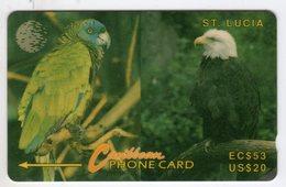 SAINTE LUCIE REF MV CARDS STL-14E Année 1994 20$ 14CSLE PARROT AND EAGLE - Saint Lucia