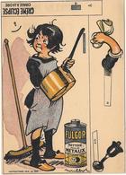Publicité à Système à Découper - CREME ECLIPSE -  FULGOR Illustrée Par POULBOT - Chromo - BALAI, CASSEROLE DE CUIVRE - Publicités