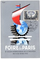 CACHET TEMPORAIRE Illustré = PARIS 1955 = CARTE MAXIMUM FOIRE +  N° 1022 TELEVISION - Maximum Cards