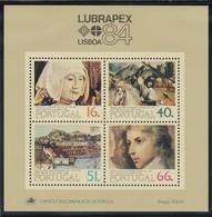 Portugal, 1984, 1631/34 Block 44, LUBRAPEX '84, Lissabon: Gemälde. MNH ** - Blocs-feuillets