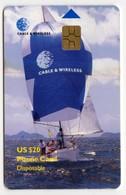 ILES VIERGES BRITANNIQUE CARAIBES CABLE & WIRELESS REF MVCARDS BVI-C2  20$ C & W SAILING BOAT - Vierges (îles)