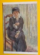 8140 - Jeune Fille En Noir Pastel D'Otto Vautier Peintre Suisse - Peintures & Tableaux