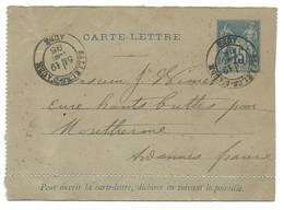 SAGE 15c CARTE LETTRE / SALLELES D'AUDE 1895 - Postmark Collection (Covers)