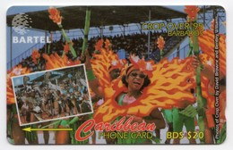 BARBADES CARAIBES MV Cards BAR-87A  20B$ CN 87CBDA CROP OVER 95 - Barbados