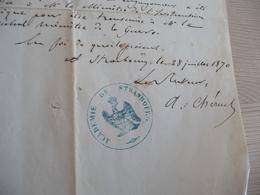 Adolphe Chéruel LAS Autographe Signée Historien Strasbourg 28/07/1870 Instruction Publique Engagement Décennal - Autogramme & Autographen