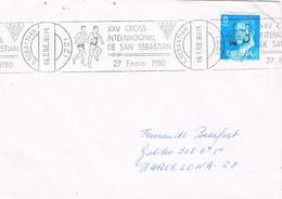 32124. Carta SAN SEBASTIAN 1980. Rodillo Especial XXV Cross Internacional, Sport - 1931-Hoy: 2ª República - ... Juan Carlos I
