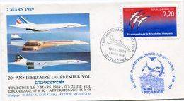 ENVELOPPE CONCORDE 20e ANNIVERSAIRE DU PREMIER VOL CONCORDE OBLITERATION BLAGNAC 2 MARS 1989 - Concorde