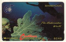 BARBADES CARAIBES MV Cards BAR-8C  40B$ CN 8CBDC UNDERWATER WORLD OLD LOGO - Barbades