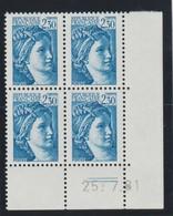 YT 2156 ** 2,30F Bleu Sabine, Coin Daté 4 TP, Sans BP, Signé, Daté Du 25.07.81 - Errors & Oddities