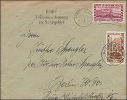 179+185 Volksabstimmung 10+50 C. MiF Auf Brief SAARBRÜCKEN 13.1.1935 - Alemania
