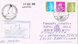 32131. Carta Base Antartica Juan Carlos I 1998. Barco HESPERIDES, Polar. Viaje Antartida - 1991-00 Covers