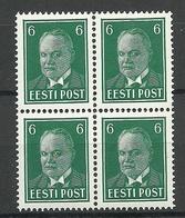 Estland Estonia 1940 Michel 157 W Als 4-Block MNH - Estland